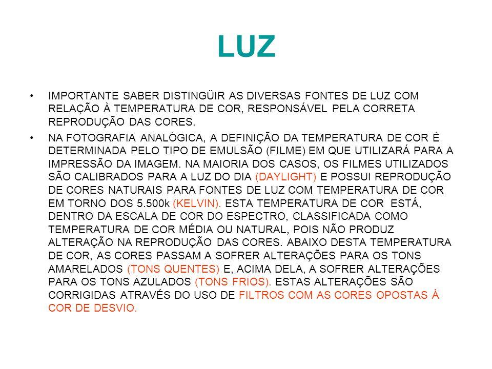LUZ IMPORTANTE SABER DISTINGÜIR AS DIVERSAS FONTES DE LUZ COM RELAÇÃO À TEMPERATURA DE COR, RESPONSÁVEL PELA CORRETA REPRODUÇÃO DAS CORES.