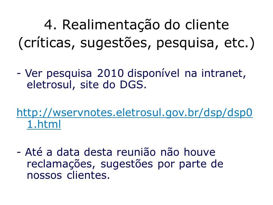 4. Realimentação do cliente (críticas, sugestões, pesquisa, etc.)