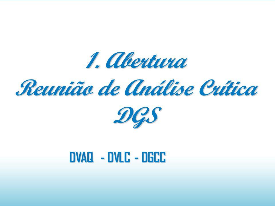 1. Abertura Reunião de Análise Crítica DGS