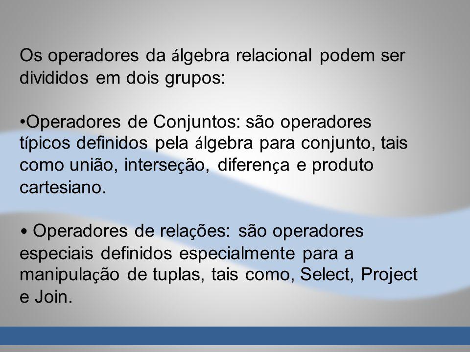 Os operadores da álgebra relacional podem ser divididos em dois grupos: