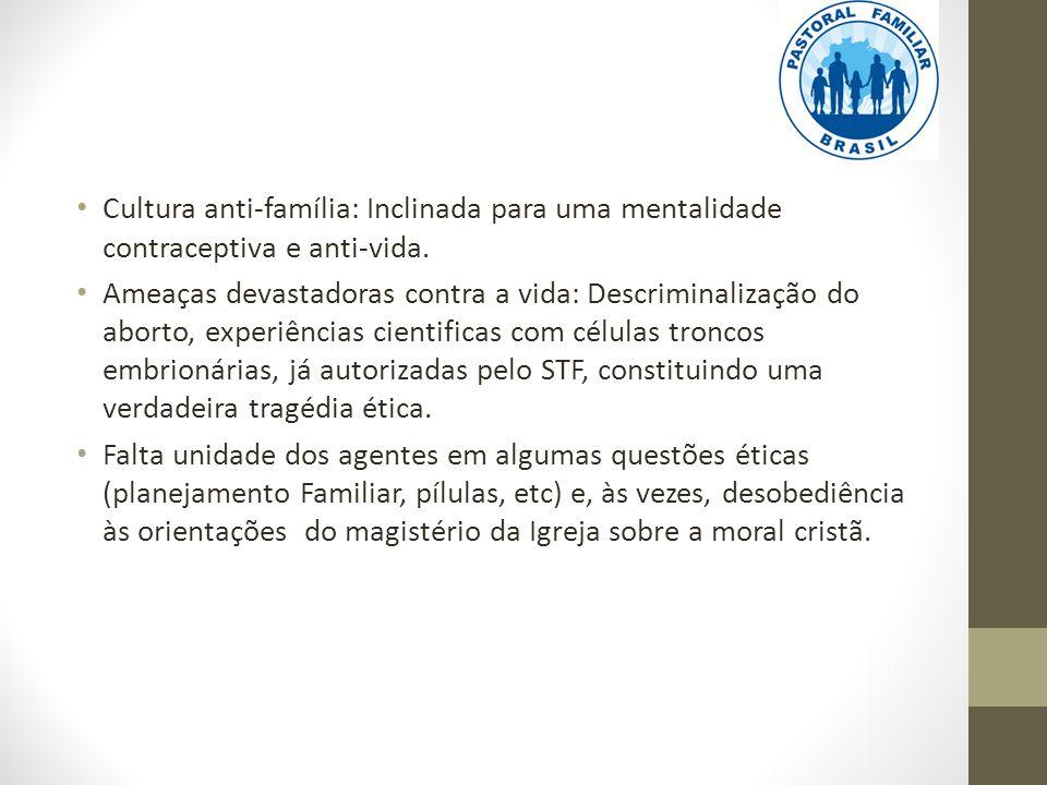 Cultura anti-família: Inclinada para uma mentalidade contraceptiva e anti-vida.