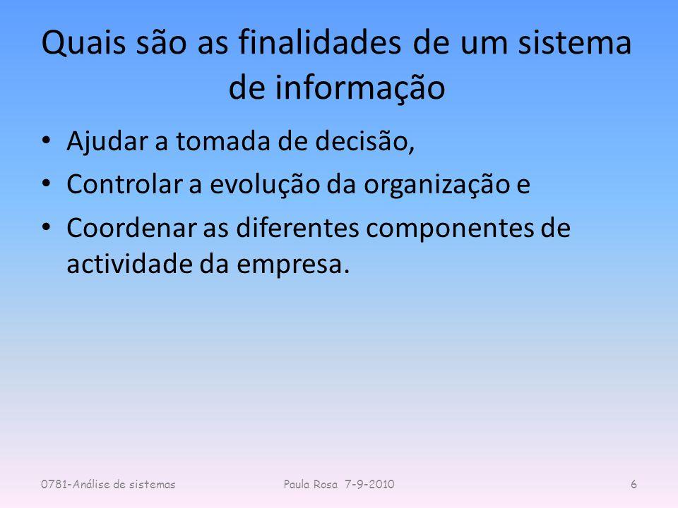 Quais são as finalidades de um sistema de informação