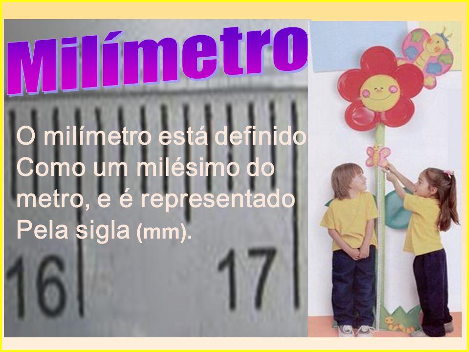O milímetro está definido Como um milésimo do metro, e é representado
