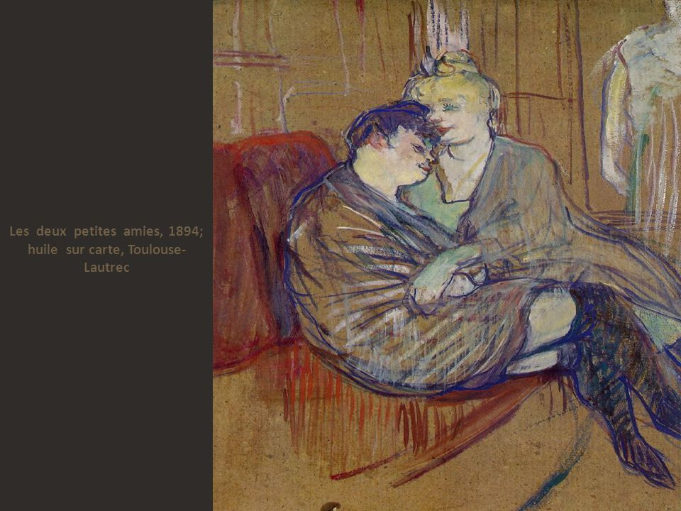 Les deux petites amies, 1894; huile sur carte, Toulouse-Lautrec
