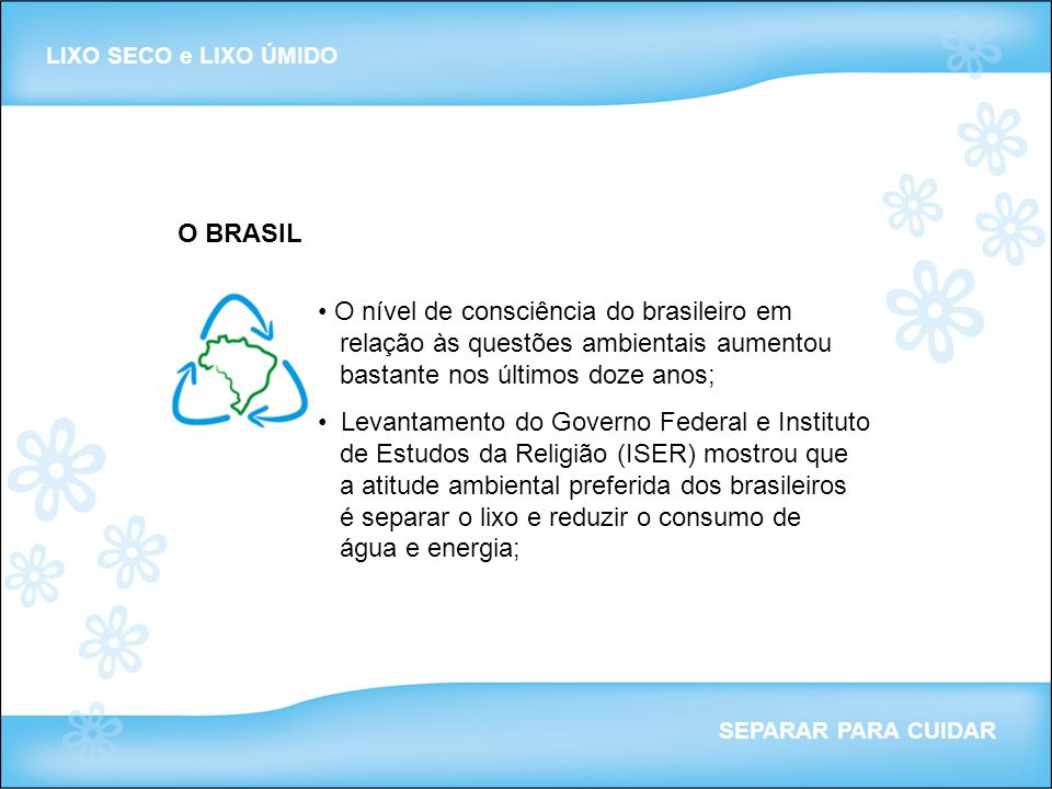LIXO SECO e LIXO ÚMIDO O BRASIL.