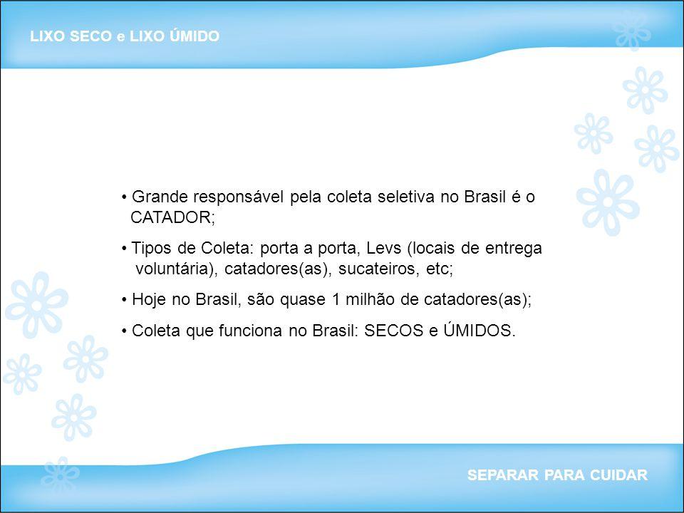 Grande responsável pela coleta seletiva no Brasil é o CATADOR;