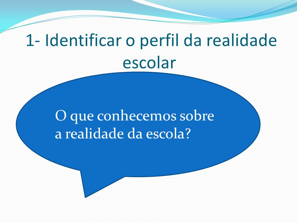 1- Identificar o perfil da realidade escolar