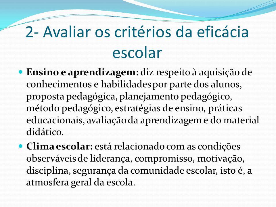 2- Avaliar os critérios da eficácia escolar