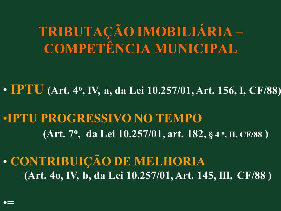 TRIBUTAÇÃO IMOBILIÁRIA – COMPETÊNCIA MUNICIPAL