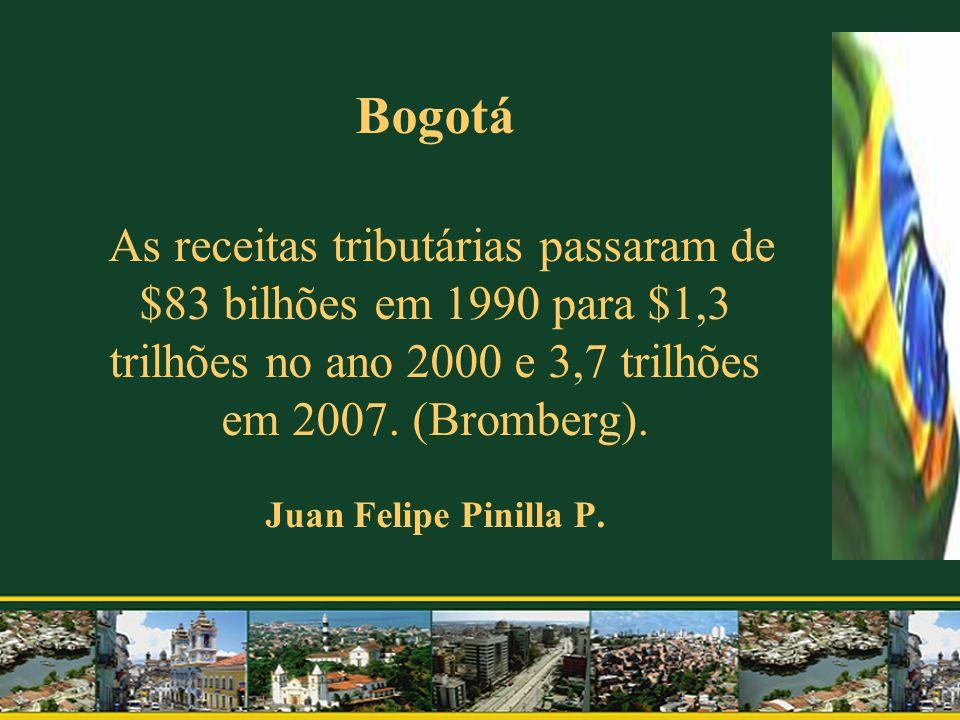 Bogotá As receitas tributárias passaram de $83 bilhões em 1990 para $1,3 trilhões no ano 2000 e 3,7 trilhões em 2007.