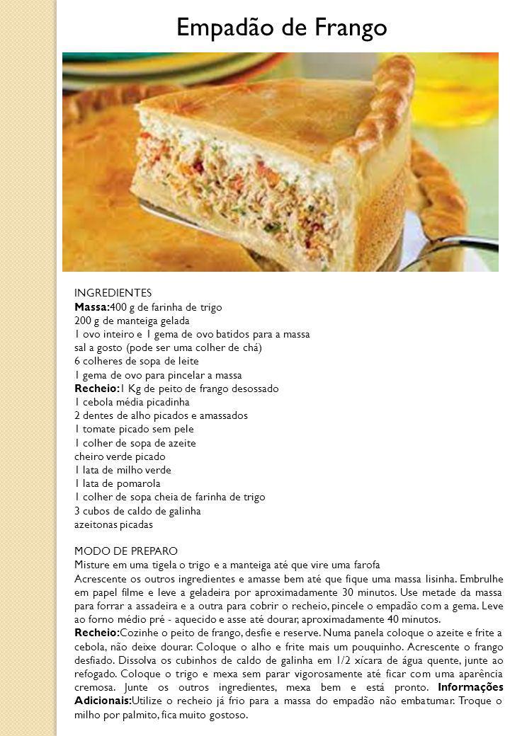Empadão de Frango INGREDIENTES Massa:400 g de farinha de trigo