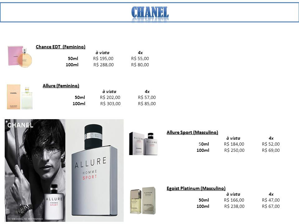 Chanel Chance EDT (Feminino) à vista 4x 50ml R$ 195,00 R$ 55,00