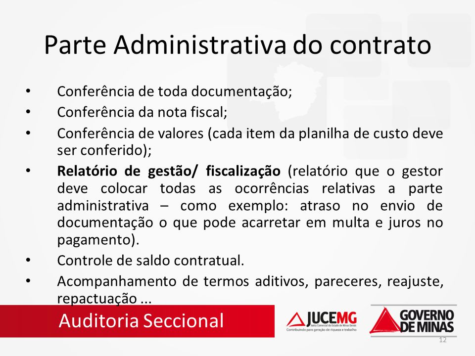 Parte Administrativa do contrato