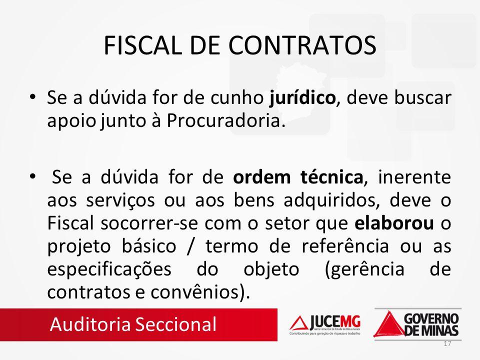 FISCAL DE CONTRATOS Se a dúvida for de cunho jurídico, deve buscar apoio junto à Procuradoria.