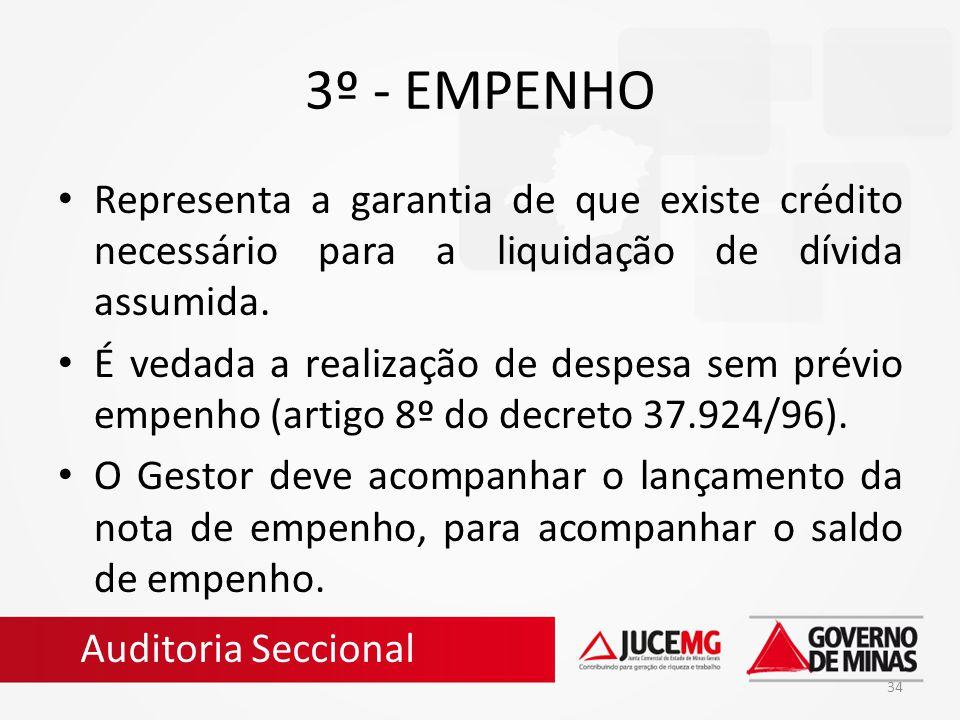 3º - EMPENHO Representa a garantia de que existe crédito necessário para a liquidação de dívida assumida.