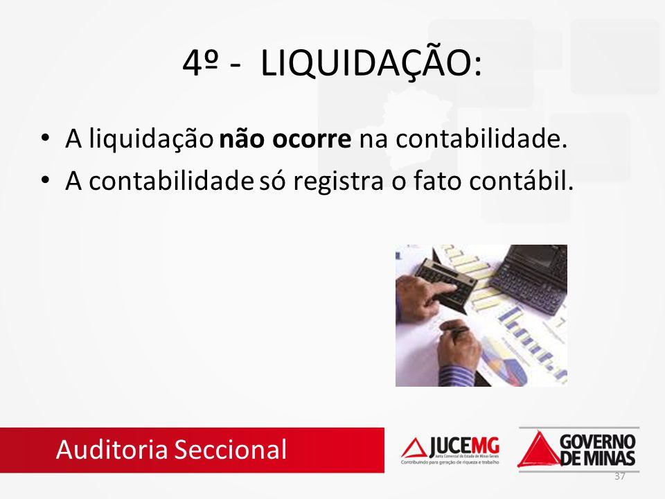 4º - LIQUIDAÇÃO: A liquidação não ocorre na contabilidade.