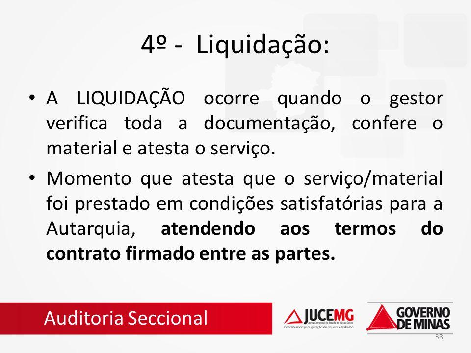4º - Liquidação: A LIQUIDAÇÃO ocorre quando o gestor verifica toda a documentação, confere o material e atesta o serviço.