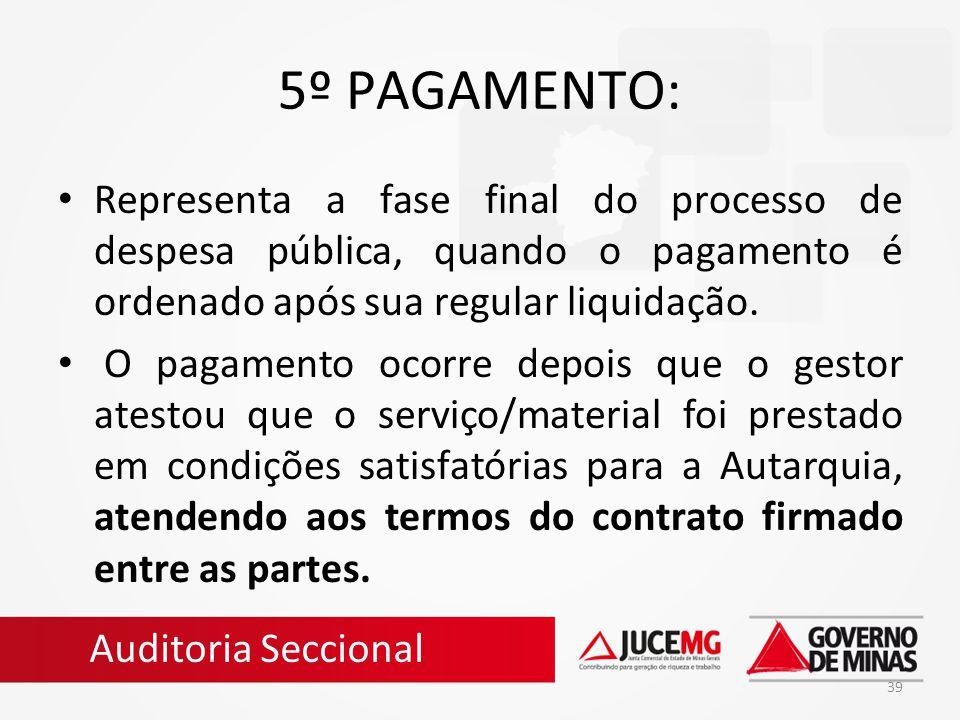 5º PAGAMENTO: Representa a fase final do processo de despesa pública, quando o pagamento é ordenado após sua regular liquidação.