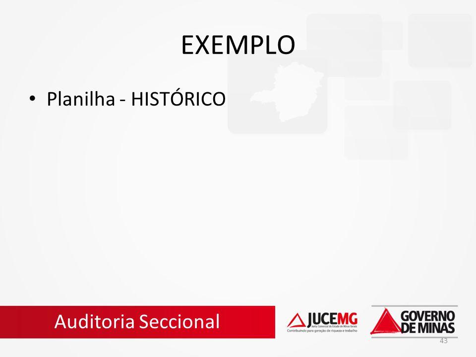 EXEMPLO Planilha - HISTÓRICO Auditoria Seccional