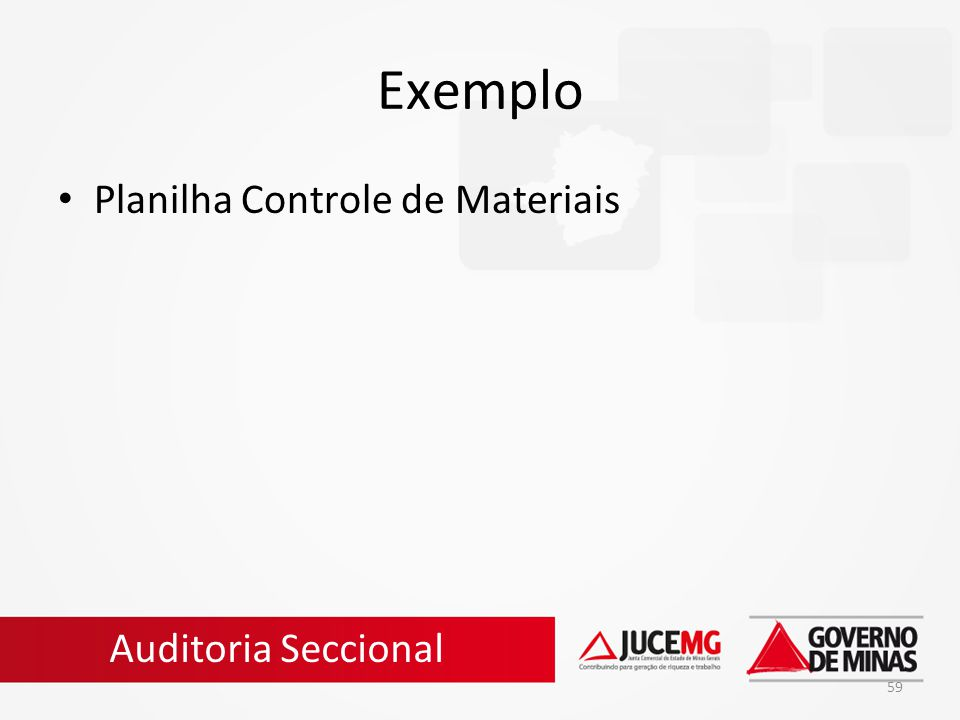 Exemplo Planilha Controle de Materiais Auditoria Seccional