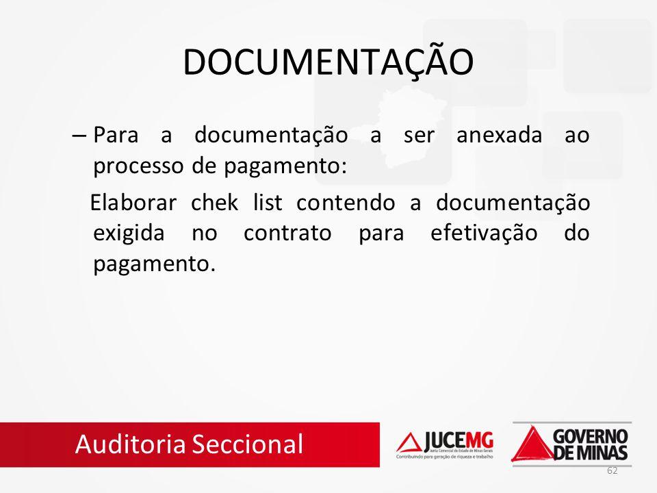 DOCUMENTAÇÃO Auditoria Seccional