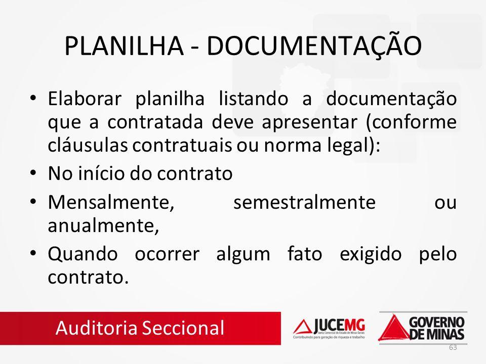 PLANILHA - DOCUMENTAÇÃO