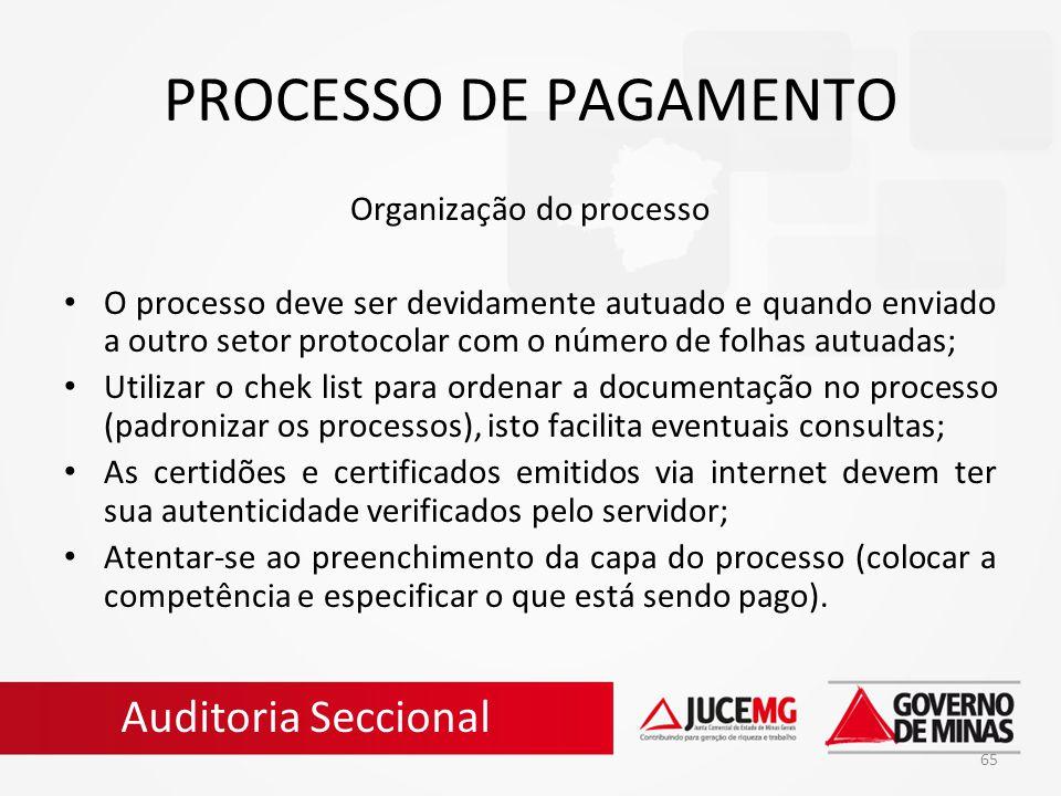 Organização do processo