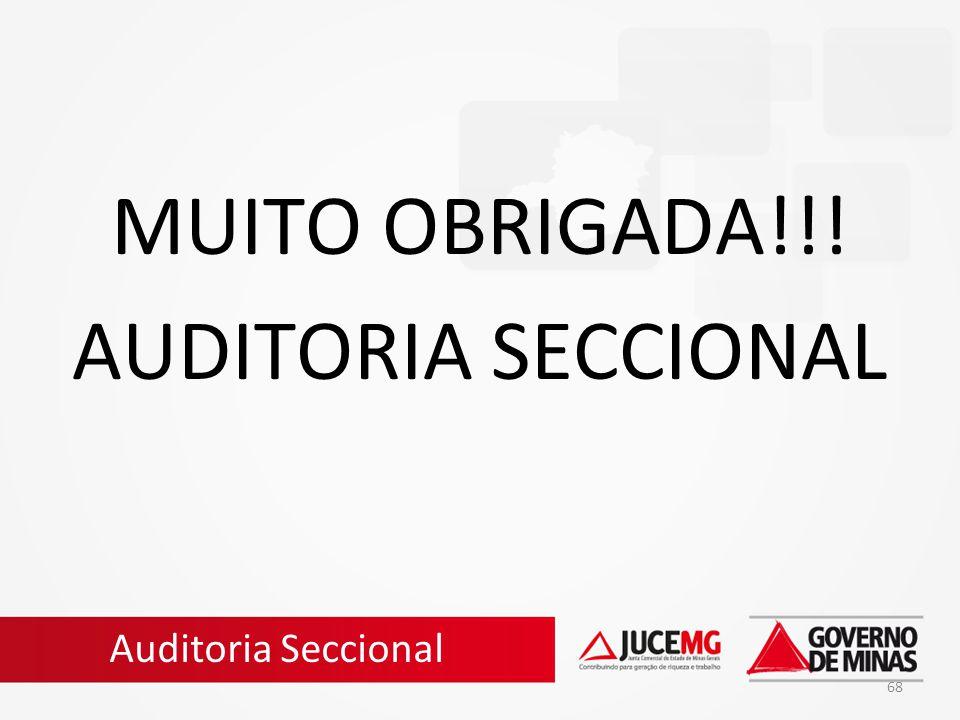 MUITO OBRIGADA!!! AUDITORIA SECCIONAL Auditoria Seccional