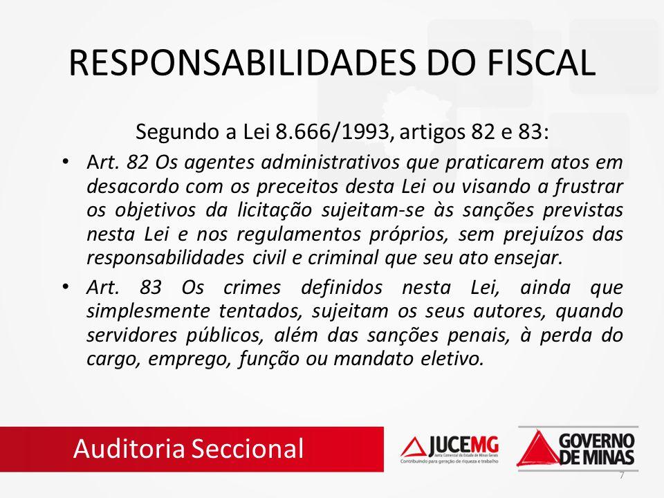 RESPONSABILIDADES DO FISCAL