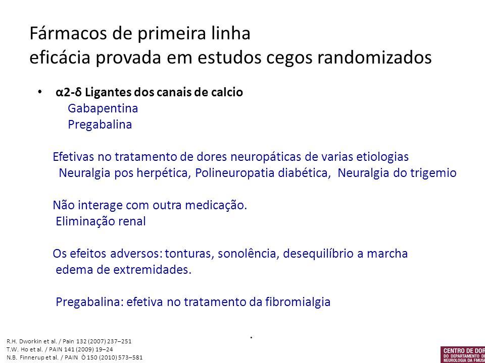 Fármacos de primeira linha eficácia provada em estudos cegos randomizados
