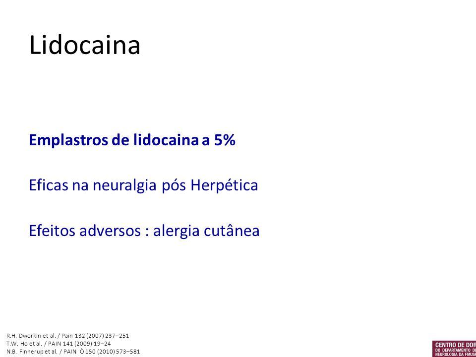 Lidocaina Emplastros de lidocaina a 5% Eficas na neuralgia pós Herpética Efeitos adversos : alergia cutânea