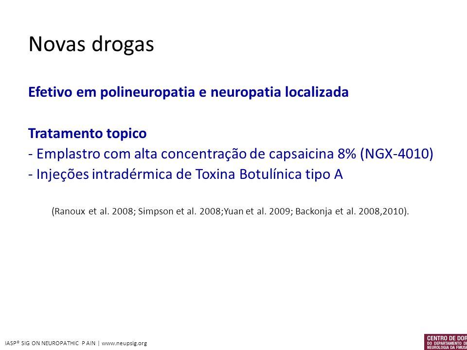 Novas drogas Efetivo em polineuropatia e neuropatia localizada