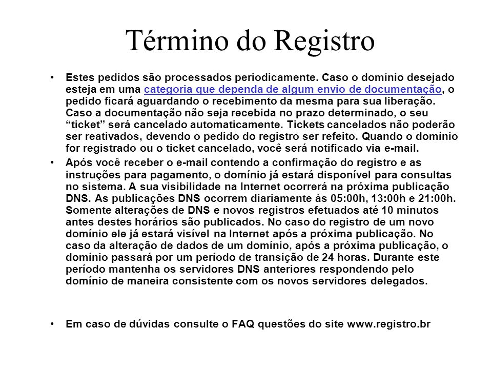 Término do Registro