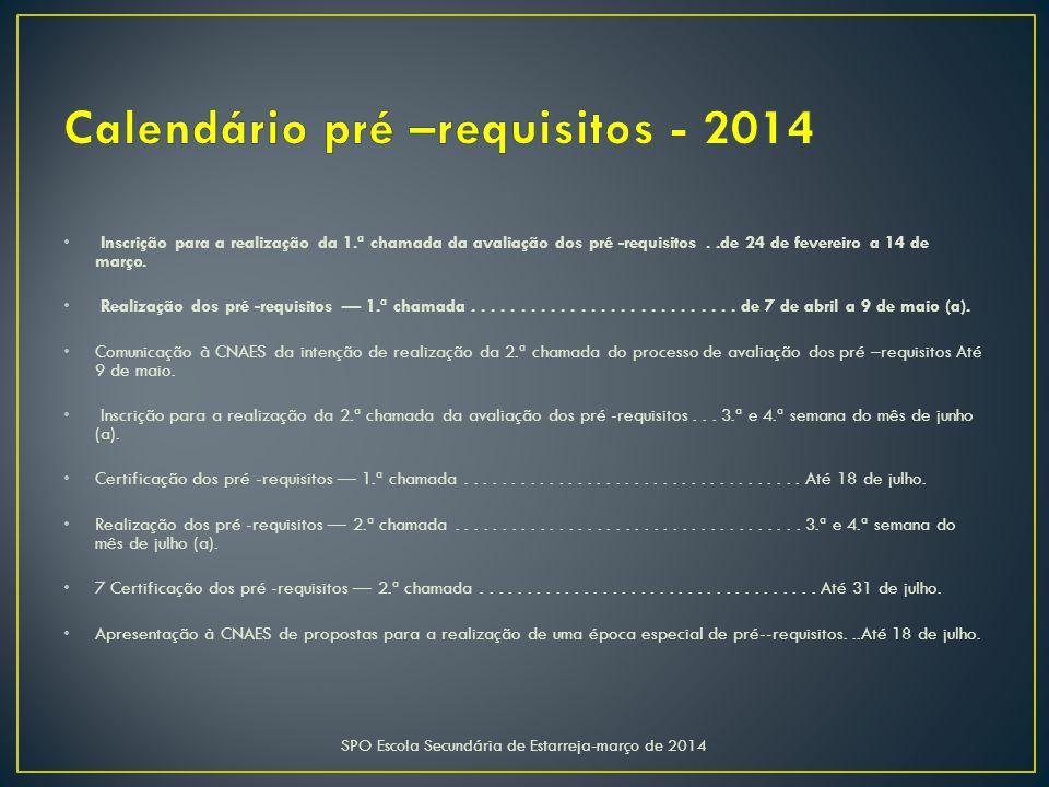 Calendário pré –requisitos - 2014