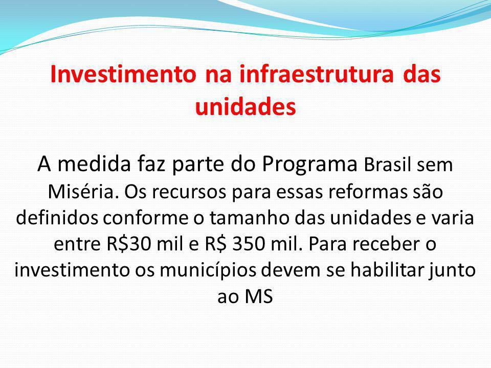 Investimento na infraestrutura das unidades