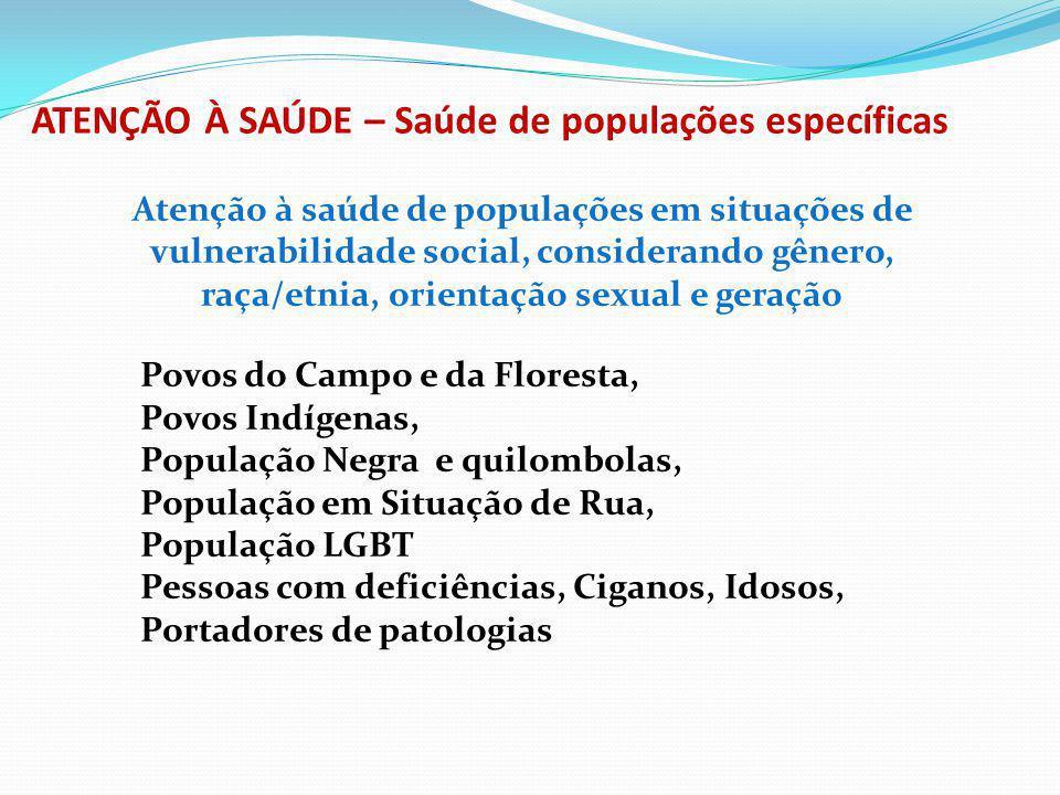 ATENÇÃO À SAÚDE – Saúde de populações específicas