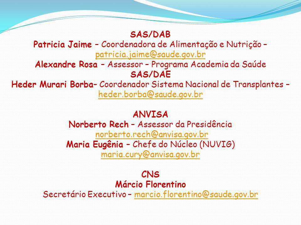 SAS/DAB SAS/DAE ANVISA CNS Márcio Florentino