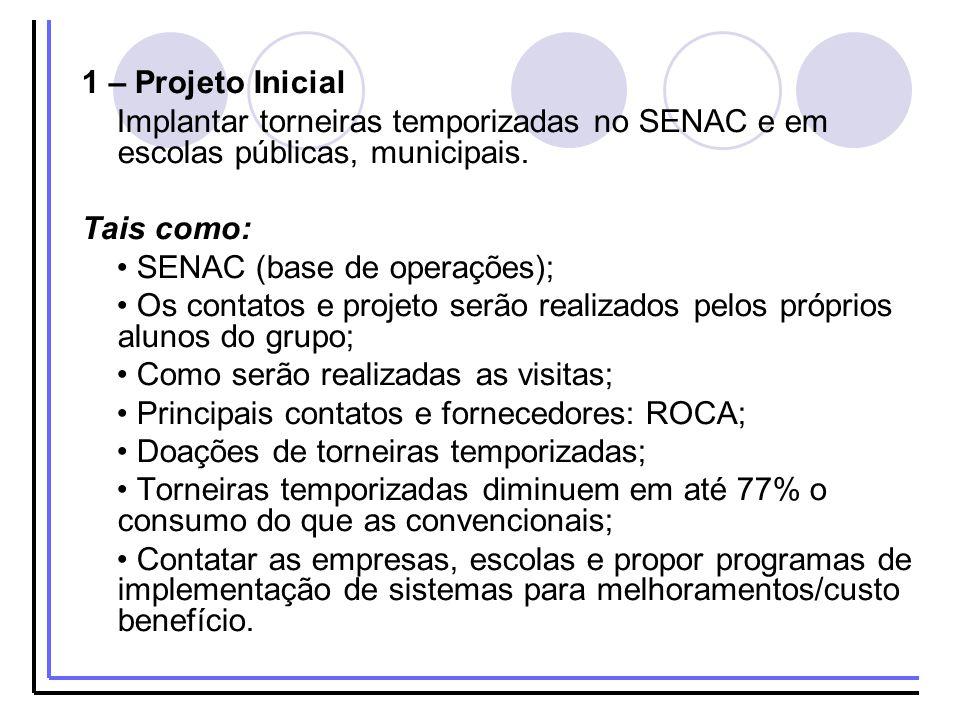 1 – Projeto Inicial Implantar torneiras temporizadas no SENAC e em escolas públicas, municipais. Tais como: