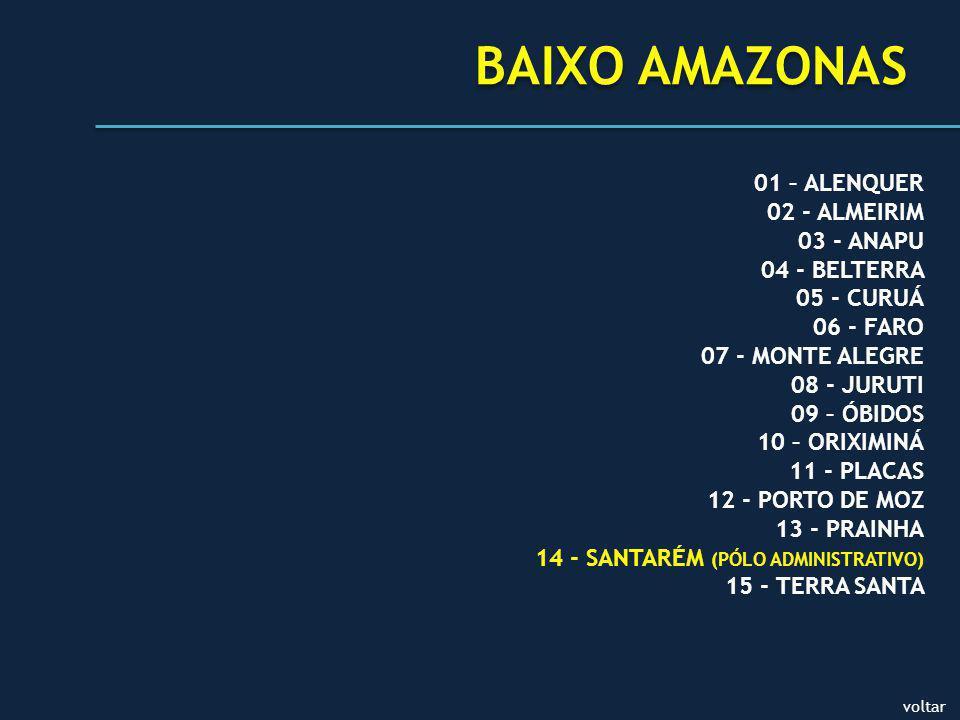BAIXO AMAZONAS 01 – ALENQUER 02 - ALMEIRIM 03 - ANAPU 04 - BELTERRA