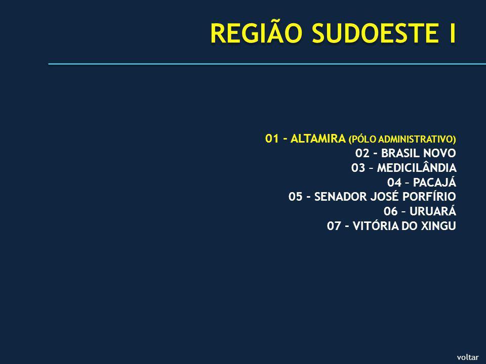 REGIÃO SUDOESTE I 01 - ALTAMIRA (PÓLO ADMINISTRATIVO) 02 - BRASIL NOVO