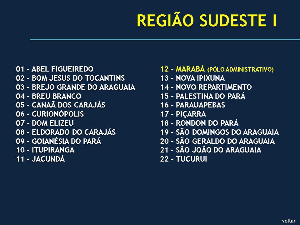 REGIÃO SUDESTE I 01 - ABEL FIGUEIREDO 02 - BOM JESUS DO TOCANTINS