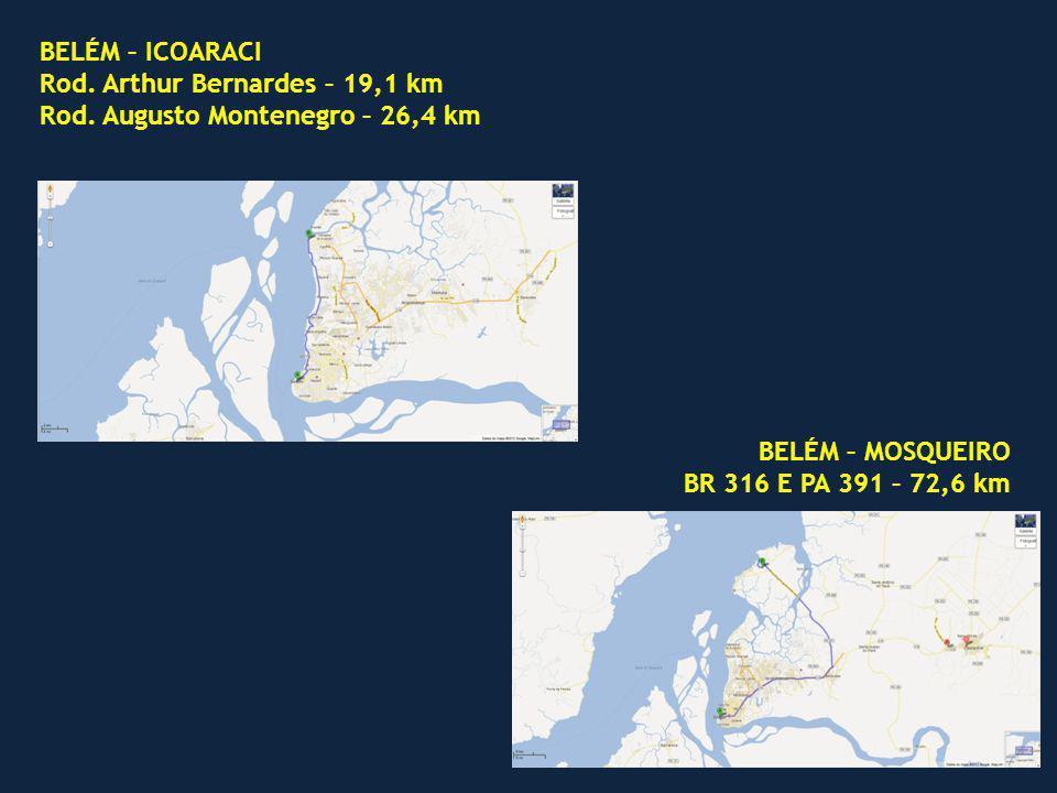 BELÉM – ICOARACI Rod. Arthur Bernardes – 19,1 km. Rod. Augusto Montenegro – 26,4 km. BELÉM – MOSQUEIRO.