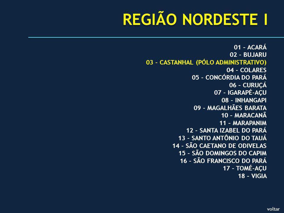 REGIÃO NORDESTE I 01 – ACARÁ 02 - BUJARU