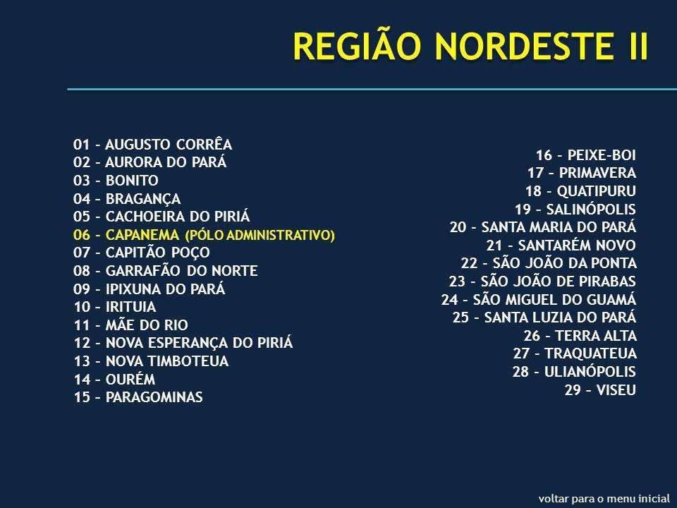 REGIÃO NORDESTE II 01 - AUGUSTO CORRÊA 02 - AURORA DO PARÁ