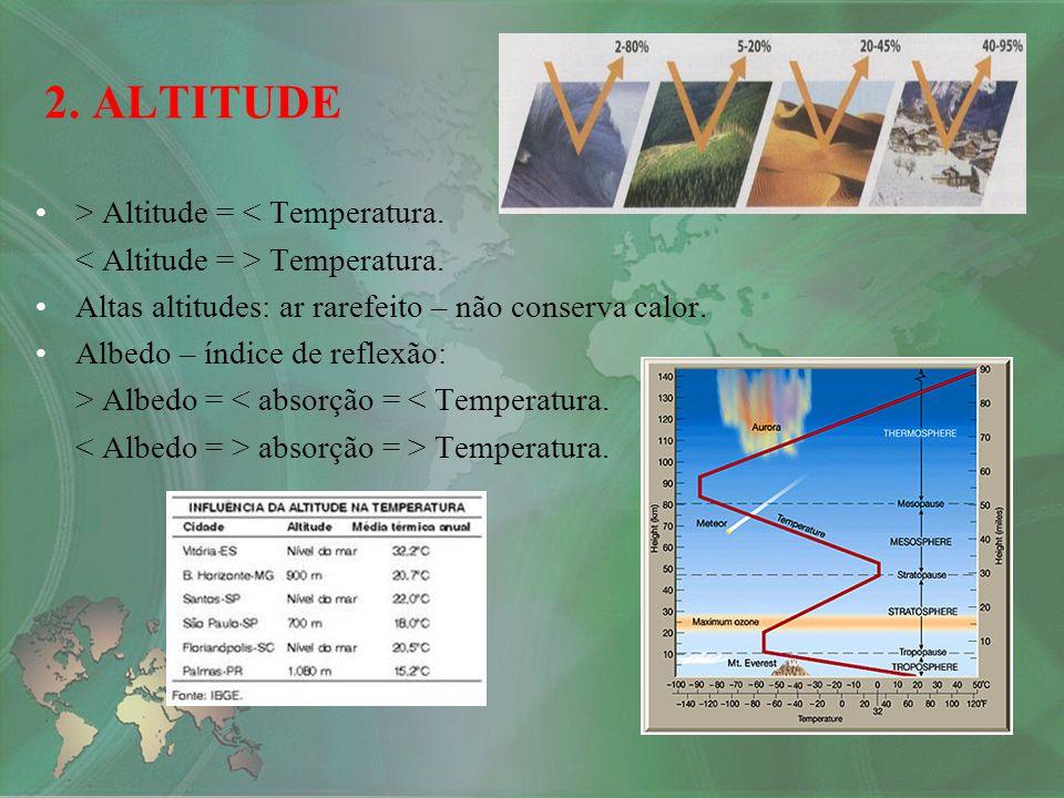 2. ALTITUDE > Altitude = < Temperatura.