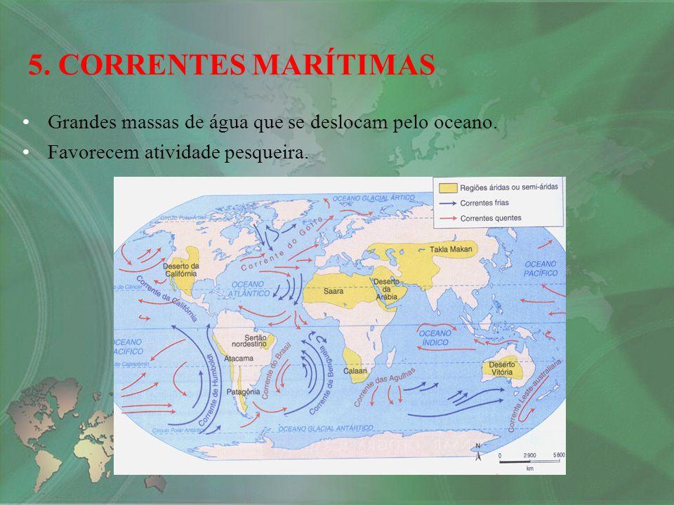 5. CORRENTES MARÍTIMAS Grandes massas de água que se deslocam pelo oceano.