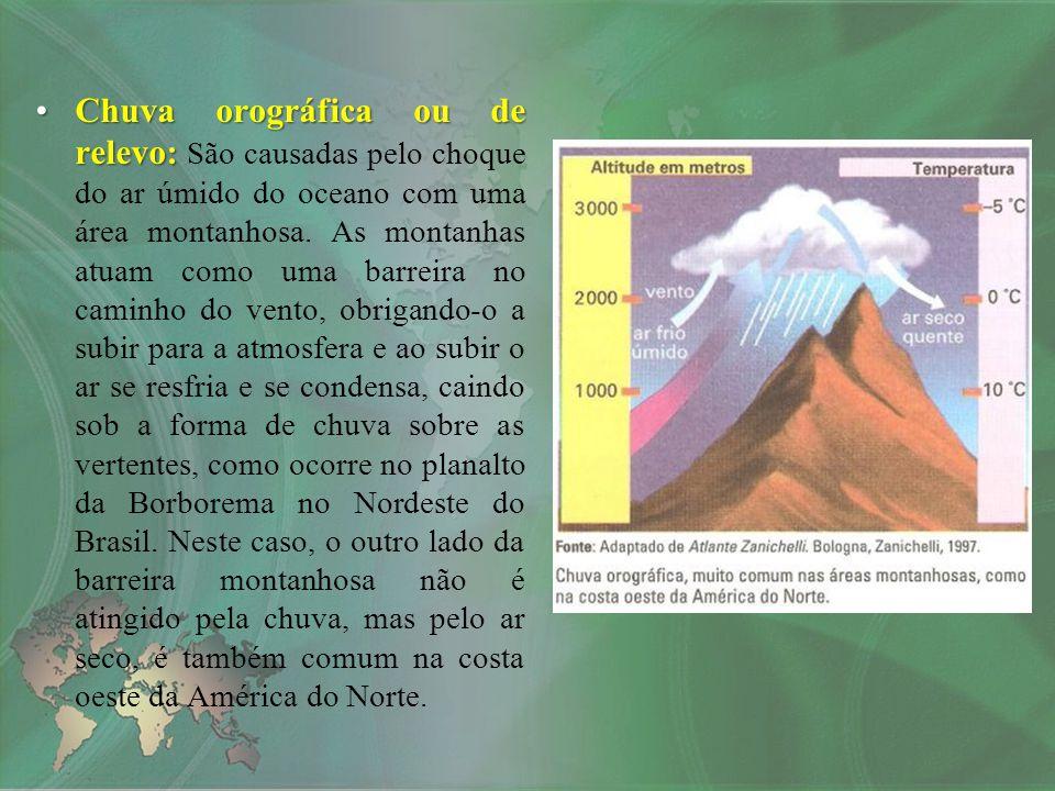 Chuva orográfica ou de relevo: São causadas pelo choque do ar úmido do oceano com uma área montanhosa.
