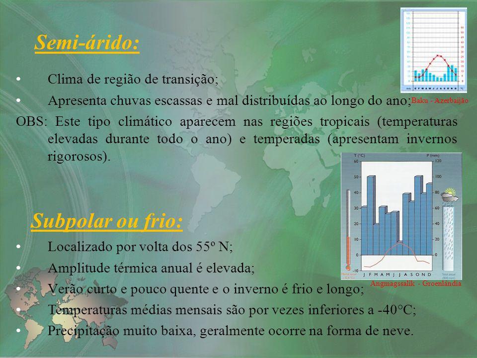 Semi-árido: Subpolar ou frio: Clima de região de transição;