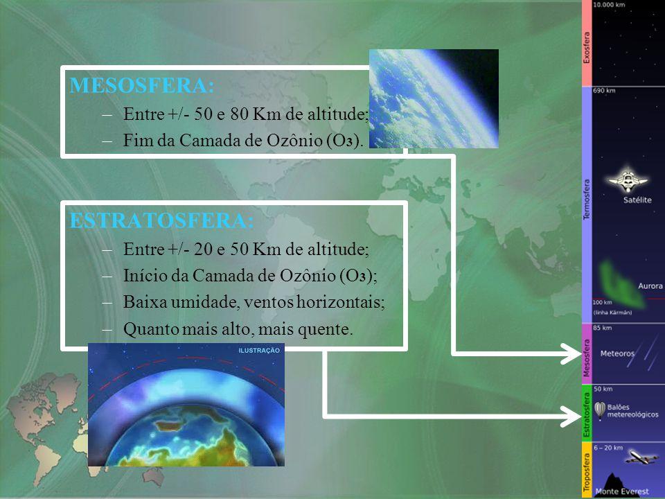 MESOSFERA: ESTRATOSFERA: Entre +/- 50 e 80 Km de altitude;
