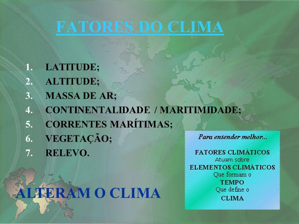 FATORES DO CLIMA ALTERAM O CLIMA LATITUDE; ALTITUDE; MASSA DE AR;